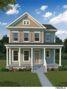 3D Model. Front with porch.