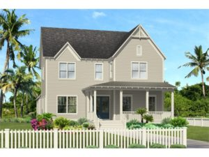 3D Rendering - front view. Two story colonial style home.
